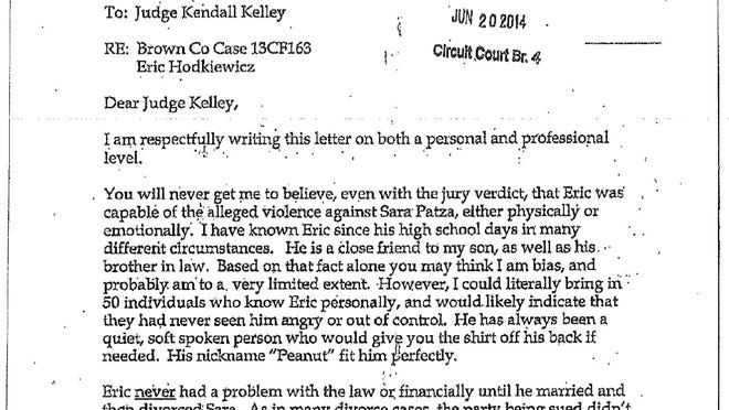 Shawano County Circuit Court Clerk Susan Krueger sent this letter to Brown County Circuit Judge Kendall Kelly in support of Eric Hodkiewicz.