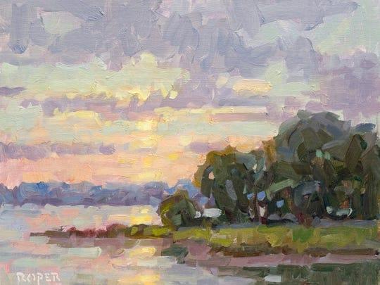 """Stuart Roper's oil-on-linen painting """"Turkey Cove Sunset."""""""