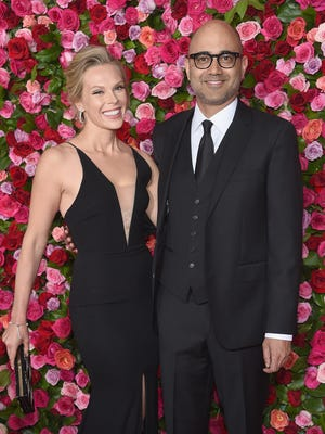 Playwright Ayad Akhtar, right, and his fiancee, actor-director Annika Boras, arrive at the Tony Awards event in 2018.