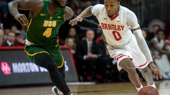 Bradley's Danya Kingsby (0) is one of two seniors who will lead the Braves in their 2020-21 Missouri Valley Conference season. The league schedule was announced Tuesday with Bradley opening at Southern Illinois on Dec. 31.