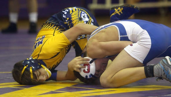 Frank Scauzillo of Mahopac, left, defeated Ryan Dufflmyer
