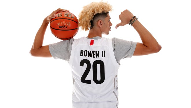 """Mar 26, 2017; Chicago, IL, USA; McDonalds High School All-American forward Brian """"Tugs"""" Bowen II (20) poses for a photo during the 2017 McDonalds All American Game Portrait Day at Chicago Marriott."""