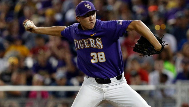 Jun 27, 2017; Omaha, NE, USA; LSU Tigers pitcher Zack Hess (38) throws during the sixth inning against the Florida Gators in game two of the championship series of the 2017 College World Series at TD Ameritrade Park Omaha. Mandatory Credit: Bruce Thorson-USA TODAY Sports