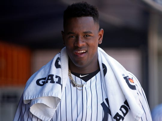 New York Yankees pitcher Luis Severino reacts in the dugout during the eighth inning of a baseball game against the Tampa Bay Rays on Saturday, June 16, 2018, in New York.
