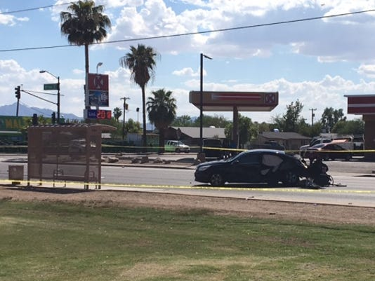 Pedestrian killed after two-car collision sends vehicle onto sidewalk