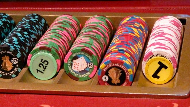Gambling chips at Resorts Casino Hotel in Atlantic City, N.J.