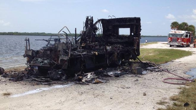 Around 1:45 Wednesday, deputies responded to a vehicle fire on the Sanibel Causeway. While the RV was a total loss. No one was injured.