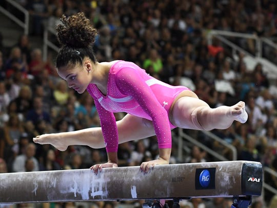 July 10, 2016; San Jose, CA, USA; Laurie Hernandez, from Old Bridge, NJ, during the balance beam in the women's gymnastics U.S. Olympic team trials at SAP Center. Mandatory Credit: Kyle Terada-USA TODAY Sports