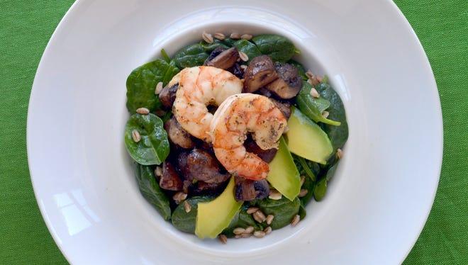 Warm mushroom and shrimp salad.