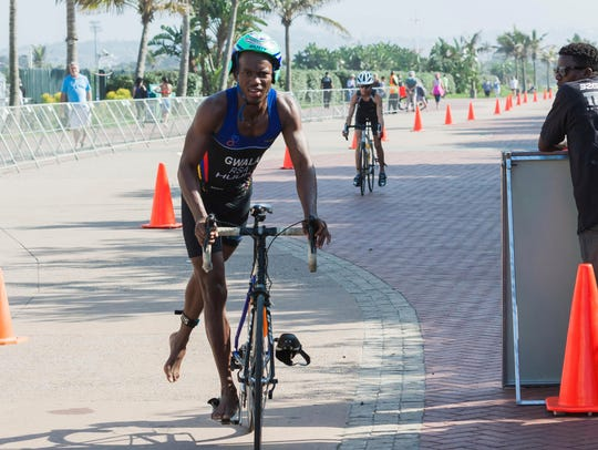 Mhlengi Gwala competes in an event in Durban, South Africa, in 2015.