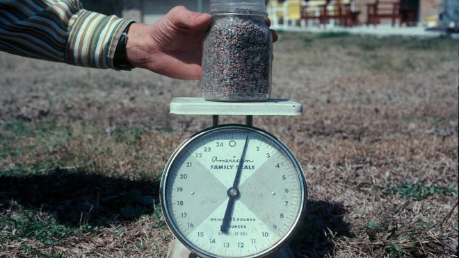 A pint of general fertilizer weighs about 1 pound.