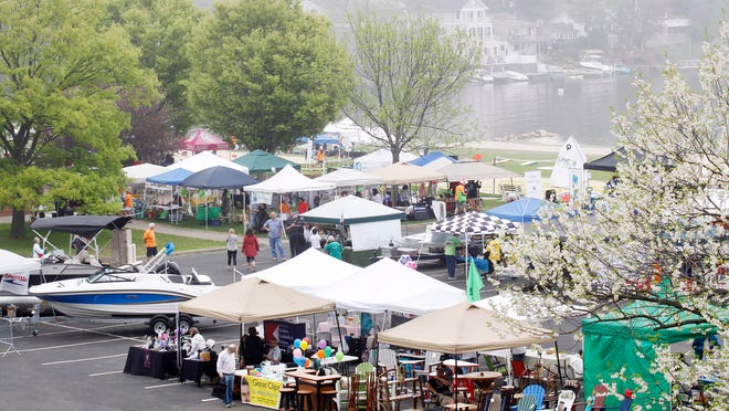 Overview of some of the vendors and boats during the Lake Hopatcong Block Party, held at Lake Hopatcong State Park, in Landing. 5/9/2015 Photo for The Morris Daily Record by Jerry McCrea