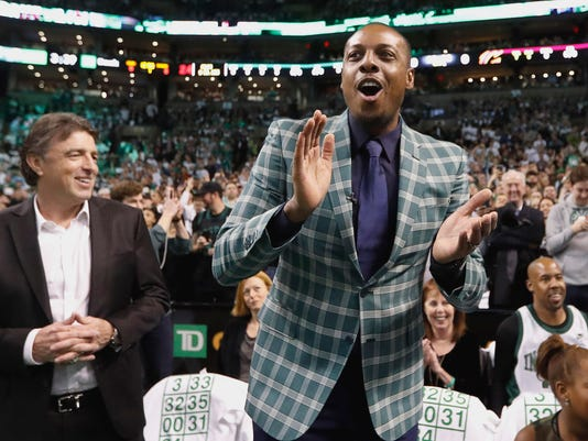 0aae2a0a7 Boston Celtics retire Paul Pierce s jersey