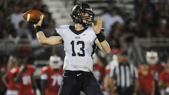 Timber Creek QB Devin Leary, shown here in a past game against Delsea, set the state mark for career passing touchdowns on Saturday.