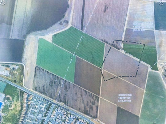 Outline indicates the location of the future Dolores Huerta Middle School, northeast of Salinas