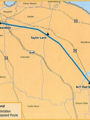 The proposed route of the transmission line that JCP&L wants to build.