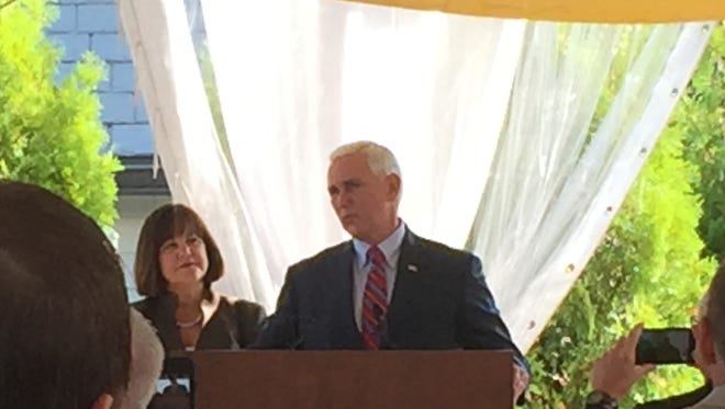 Newly minted Republican vice presidential nominee Gov. Mike Pence made a surprise stop at the Indiana delegation's breakfast at the Republican National Convention in Cleveland on July 21, 2016.