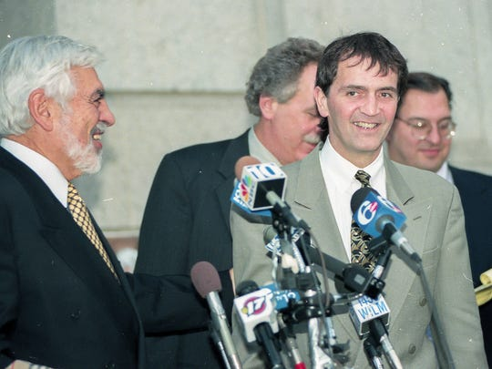 Tom Capano's defense team (left to right) Joseph Oteri, John O'Donnell and Eugene Maurer speak to the press during the Thomas J. Capano murder trial at the Wilmington Courthouse in Wilmington, Del. Monday, November 9, 1998.
