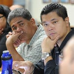 Government of Guam officials meet at Adelup to discuss government spending cuts on June 15.