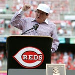 Jun 25, 2016; Cincinnati, OH, USA; Cincinnati Reds great Pete Rose speaks during his Reds Hall of Fame induction ceremony prior to a game with the San Diego Padres at Great American Ball Park. Mandatory Credit: David Kohl-USA TODAY Sports ORG XMIT: USATSI-260484 ORIG FILE ID:  20150120_jrs_bk2_60.jpg
