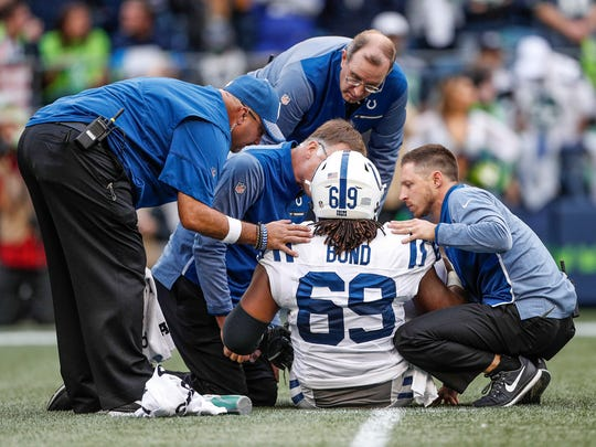 An inspiring underdog story, Colts center Deyshawn Bond lost his season in Week 4 to a quad injury.