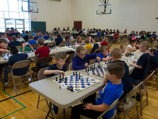 Another round begins at the North Junior High School Spring Scholastic Chess Tournament Saturday afternoon.