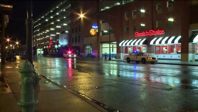 A woman was stabbed near the Steak 'N Shake on Maryland.