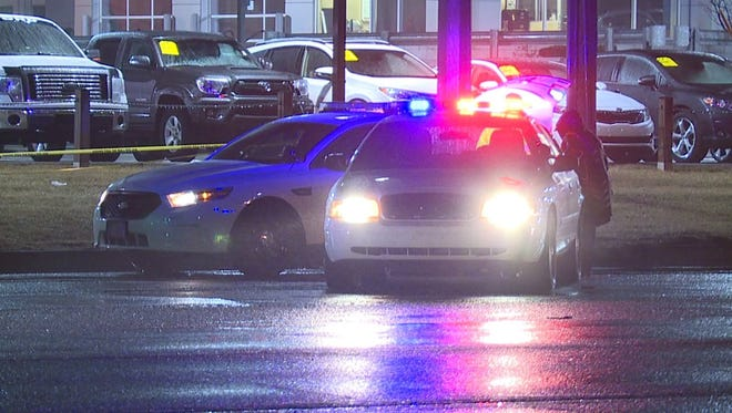 Police block off the  2500 block of  North Shadeland Avenue on Saturday after a pedestrian was killed.
