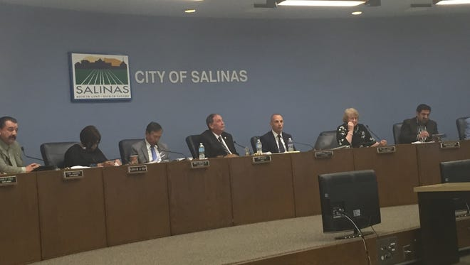 The Salinas City Council deliberates over regulations over commercialized medical marijuana at Tuesday's meeting.