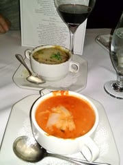 Soups include French onion and tomato basil.