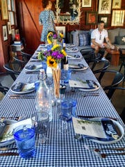Sparrows Lodge sets a festive table for its communal dinners.