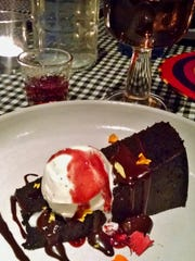 For a decadent dessert, guests were served a chocolate brownie and port wine.