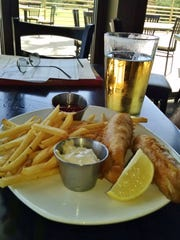 The menu includes bistro staples like fish and chips.