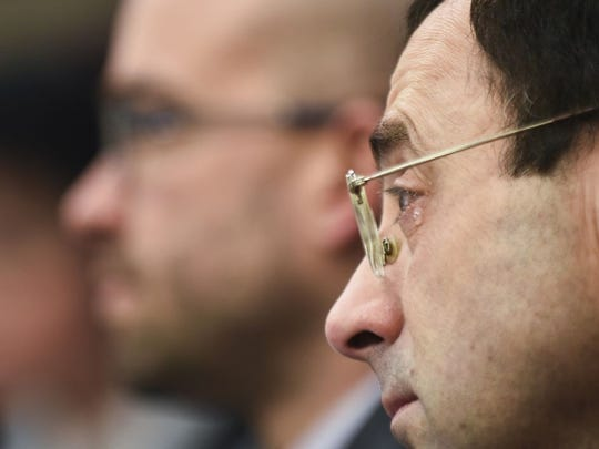 Dr. Larry Nassar appears at his sexual-abuse trial.