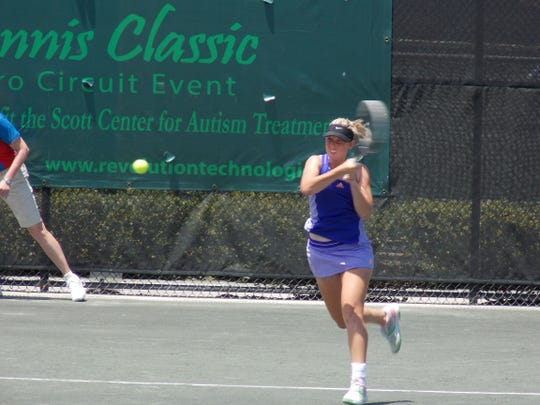 Storm Sanders returns a shot during her match with Erica Oosterhout Thursday during the Revolution Technologies Pro Tennis Classic at Kiwi Tennis Club.