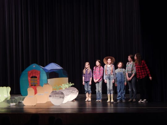 "Members from the Granite Clouds 4-H Club perform their original act ""Growing Your 4-H Garden."""