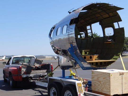 The already restored nose section of the Boeing B-17 Flying Fortress known as the Lacey Lady arrives Wednesday at Salem Municipal Airport. The public will get its first peek at the restoration project during a grand opening celebration Saturday.