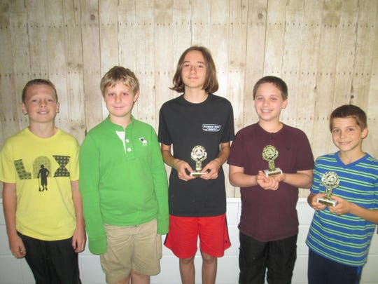 Pictured (left to right), Brian Glass, Ian Love, Kevin Menzie, Owen Tabor and Matt Avallone were recognized for their performance in the Math Olympiad at Woodglen School in Lebanon Township. Kevin and Owen tied for the highest score in the sixth grade. They also received a silver pin for placing in the top 10 percent of all sixth-grade students nationally, along with Brian and Ian. Matt had the highest score of Woodglen's fifth-grade students. The students' math teachers are Tina Gerould (fifth-grade math) and Conrad Haenny (sixth-grade math). Approximately 120,000 students worldwide took part in this year's Math Olympiad program, which consisted of five monthly contests of five problems each. The contest teaches students to solve unusual and difficult problems and to think creatively.