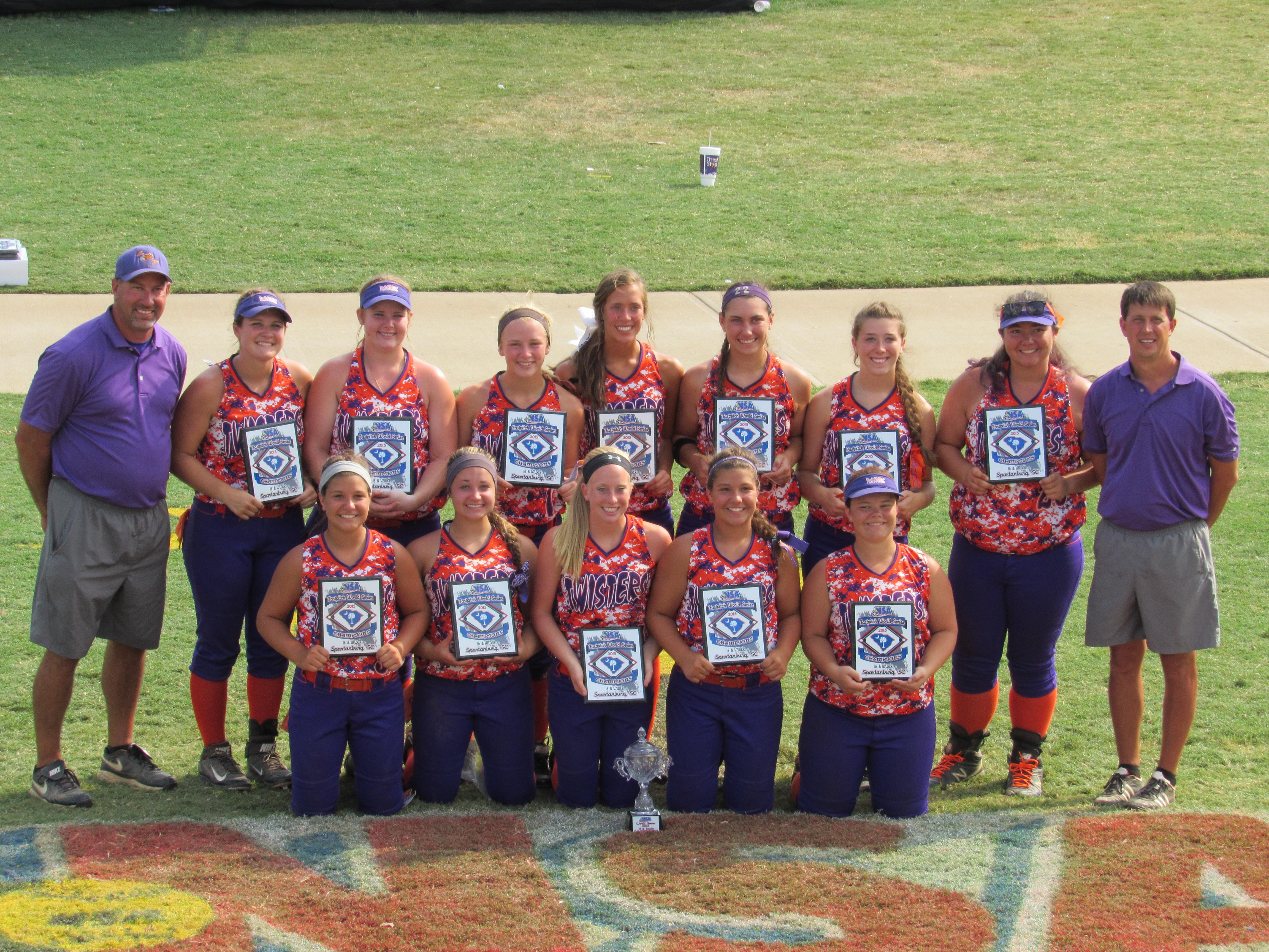 """The Lady Twisters travel softball team won five of seven tournaments this summer, including the NSA """"B"""" World Series in Spartanburg, South Carolina. Members of the team are, front row from left, Megan Ebbrecht, Alexis Eaton, Kaitlyn Hines, Morgan Ebbrecht and Lauren Willis; and second row from left, coach Jeff Ebbrecht, Jaycee Crouch, Keiri Johnson, Michaela Criner, Kassidy Hines, Abbi Ebbrecht, Hannah Wilson, Lainie Nakanishi and coach Kirk Hines."""