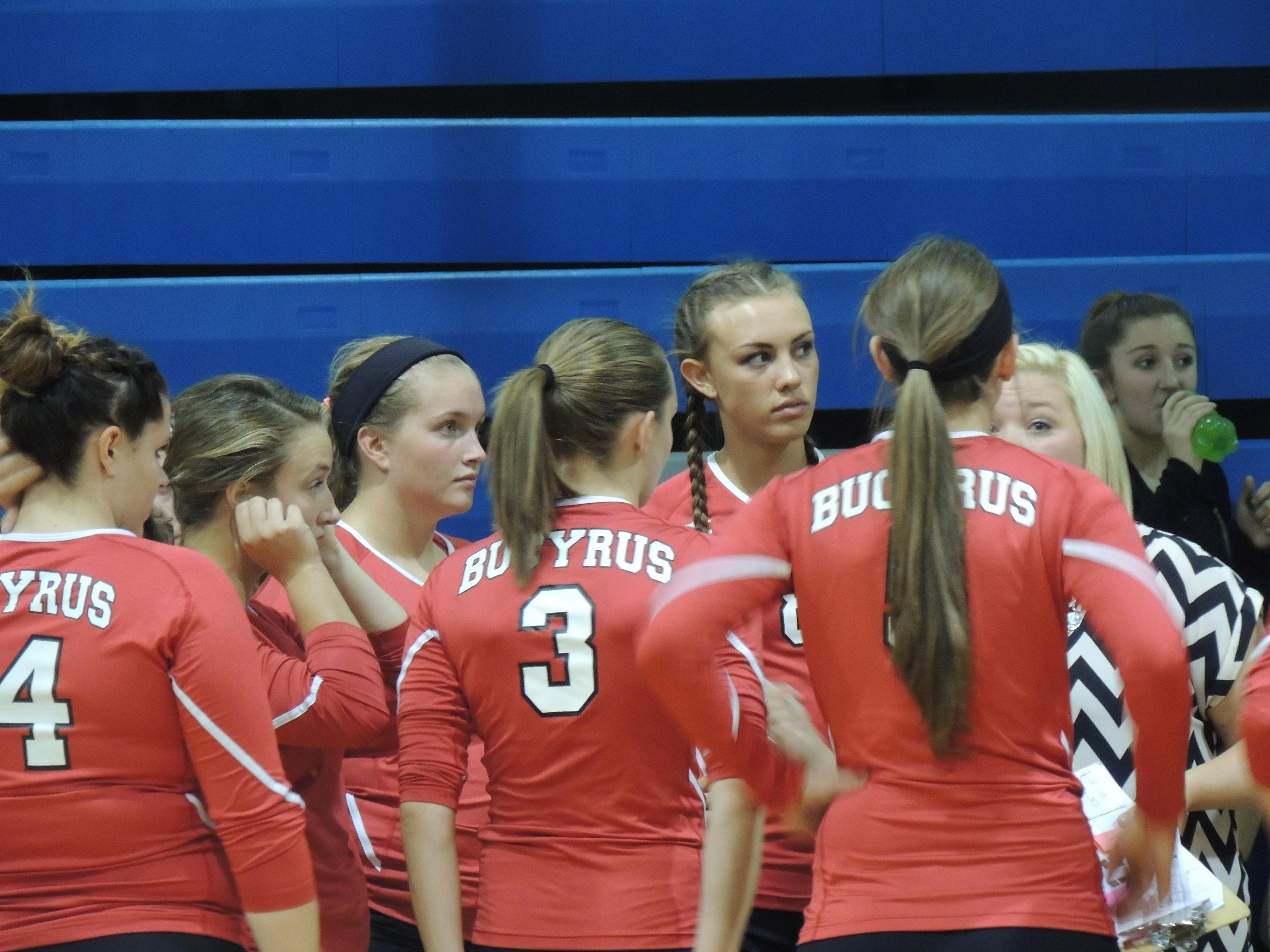 The Bucyrus Redmen talk strategy before their match with the Wynford Royals