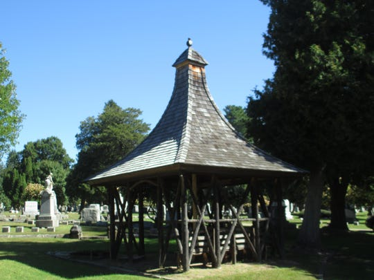 A current view of the gazebo, which was built in the late 19th century in the Adirondack style. It was rebuilt by a Vermont craftsman in 2010.
