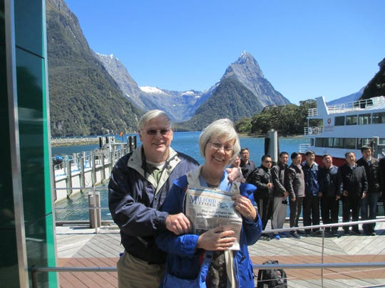 In October, Ron and Mary Leffert of Highland carried their Milford Times along during their 18-day tour of Australia and New Zealand and displayed it proudly before their boat trip in Milford Sound, New Zealand.