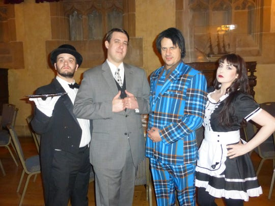 Murder Mystery Company cast members include Dan Herdegen, performance coach; Livonia Churchill graduates Adam Mack ('97), creative content director; and Justin Issa '99, national director; and Anna Schmidt, director of public events and sales.