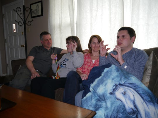 From left, Jay, Kylie, Dena and Josh Kopp relax in