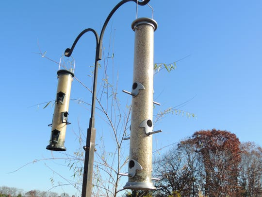 A feeding station does not need to be an elaborate or expensive setup to draw in flocks of colorful birds. Feeding in tube style feeders is a great way to attract winter finches and smaller songbirds.