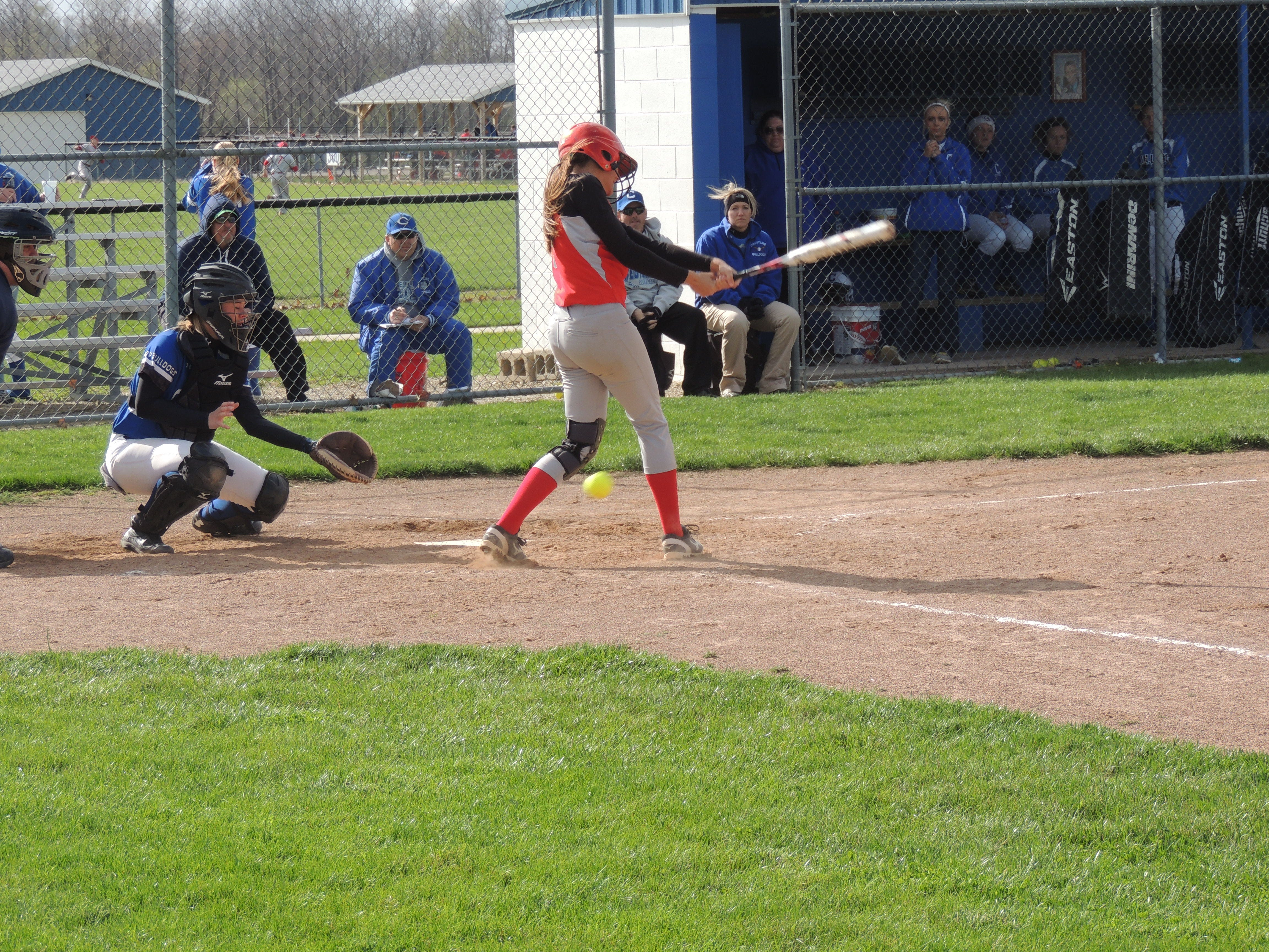 Buckeye Central senior Sierra Hanes fouls a pitch off in the fifth inning of the Buckettes' 14-7 loss to Crestline. Hanes hit two home runs in the game.