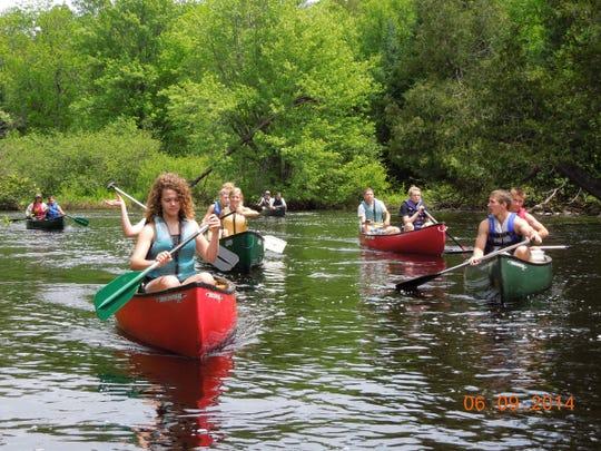 Conservation Club members Trevor Bader, Mariah Lukes, Cassidy Hibbard, Lexington Nell, Nicole Stock, Jonah Lenss, Ethan Lenss, Nick Colle, Allison Warnke, Jacob Shefchik and Malaki Wessel set out for a canoeing adventure on the Peshtigo River.