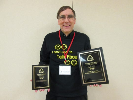 L-C One Act Director Petere Geissler with the Outstanding Director Award and the Critic's Choice Award.