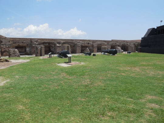 The remains of the original first story of Fort Sumter, including gun placements and a museum, can be toured in the harbor at Charleston, S.C.