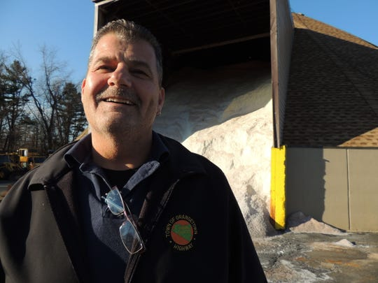 Mike Catania of Blauvelt, assistant general foreman for the Orangetown Highway Department, at the town's salt shed on the grounds of the old 303 Drive-In in Orangeburg on Dec. 31, 2014. The shed holds 3,000 tons of salt for the towns nearly 200 miles of roads, but it has hardly been touched this season, as there has only been one small snowfall, around Thanksgiving.